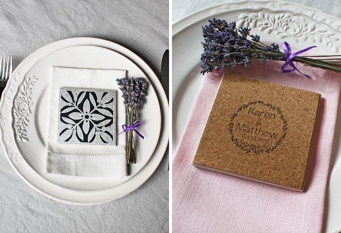 Wedding favor ideas Copenhagen coasters