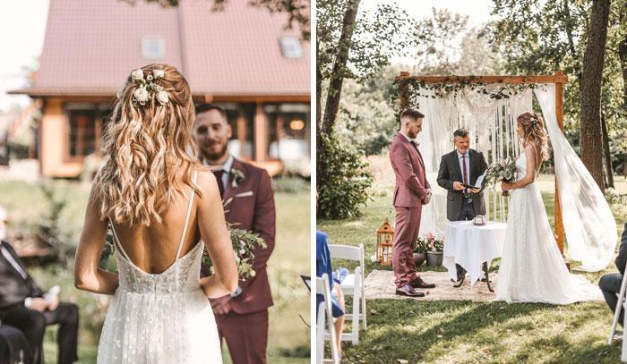 Mažos vestuvės ceremonija sodyboje