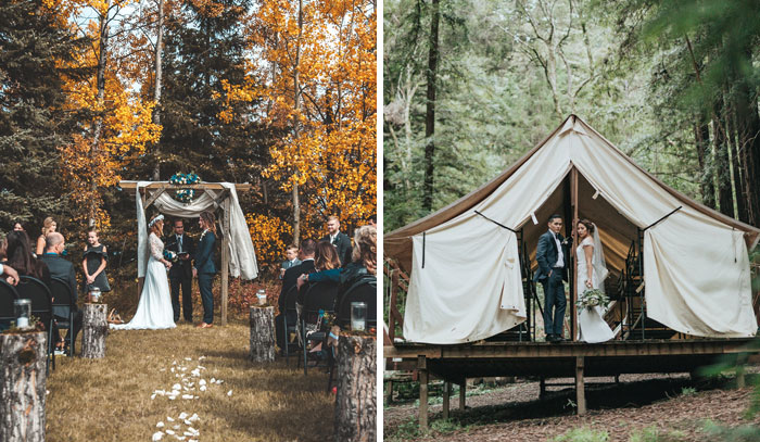 Mažos vestuvės miške stovyklavietėje glamping