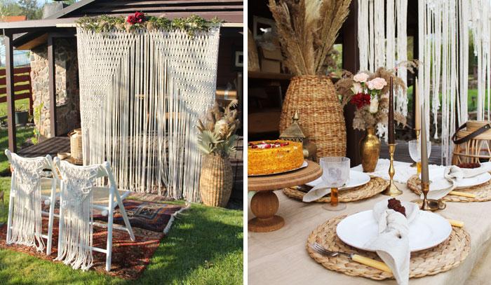 Vestuvės namų kieme su macrame arka