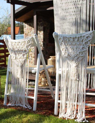 Macrame kėdžių dekoracijos