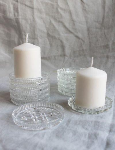 Stiklinės žvakidės padėkliukai